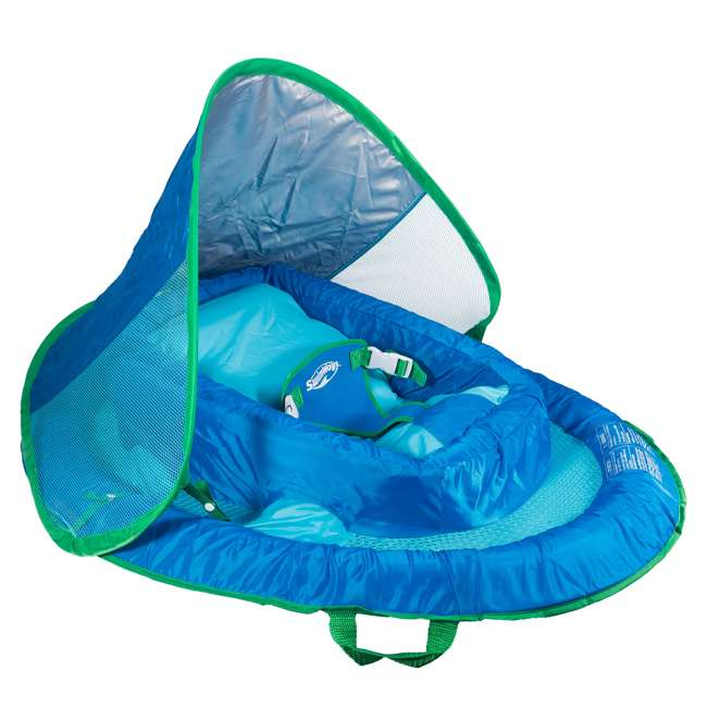 6044189-SW SwimWays Inflatable Baby Pool Float w/ Canopy, Blue (2 Pack) 1