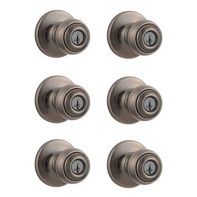 6 x 94002-028 Kwikset Polo Keyed Handle Door Knob, Antique Nickel (6 Pack)