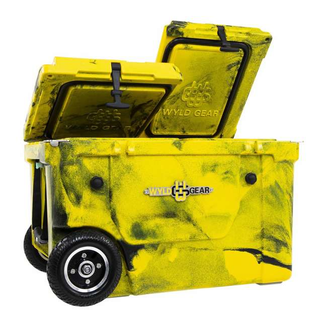 HC50-17YB WYLD HC50-17OB 50 Qt. Dual Compartment Insulated Cooler w/ Wheels, Yellow/Black