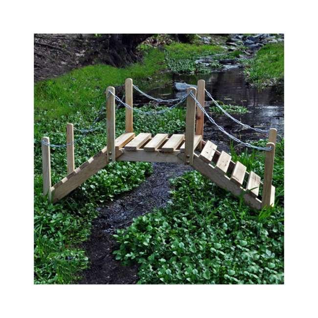 4963N Shine Company Easy Assemble Yellow Cedar 3 Foot Backyard Garden Bridge, Natural 3