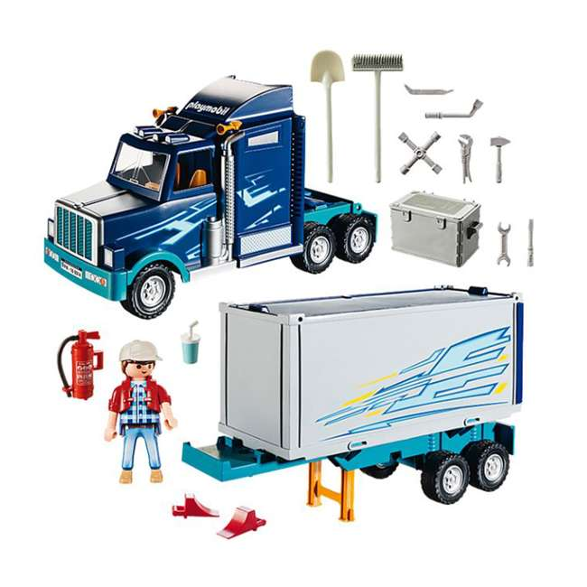 9314 Playmobil 9314 Big Rig w/ Action Figure and Semi Truck & Trailer Play Set, Blue 1