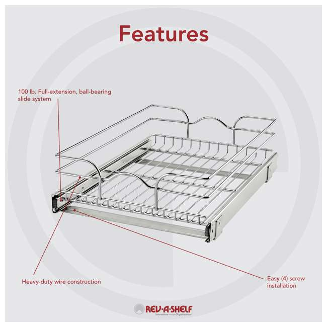 """5WB1-1520CR-1 Rev-A-Shelf 5WB1-1520CR-1 15"""" x 20"""" Single Kitchen Cabinet Pull Out Wire Basket 5"""