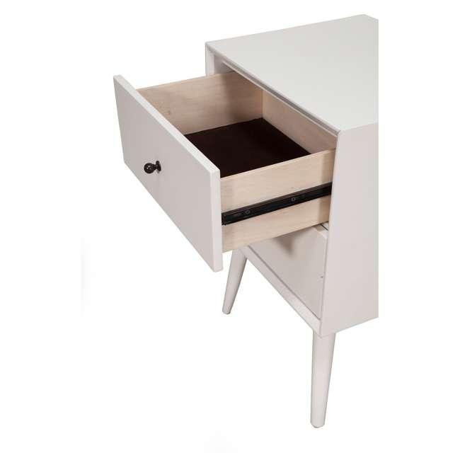 966-W-02  Alpine Furniture 966-W-02 Flynn Mid Century Modern Bedside Nightstand, White 2