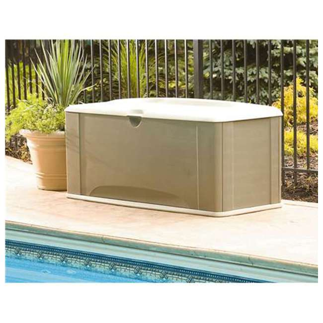 2047052 Rubbermaid Horizontal 16 Cubic Feet Storage Deck Box with Seat 2