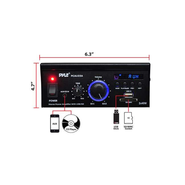 4 x PCAU25A Pyle Mini 2 x 40-Watt Stereo Power Amplifier (4 Pack) 4