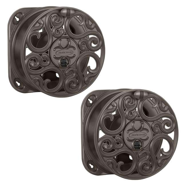 CPLMJS602 Suncast 60-Foot Wall-Mount Hose Reel, Bronze (2 Pack)