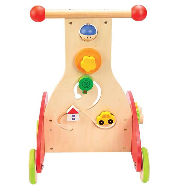 HAP-E0370-U-A Hape Toys Toddler Baby Push & Pull Toy Wonder Walker Cart with Wooden Blocks (Open Box) 1