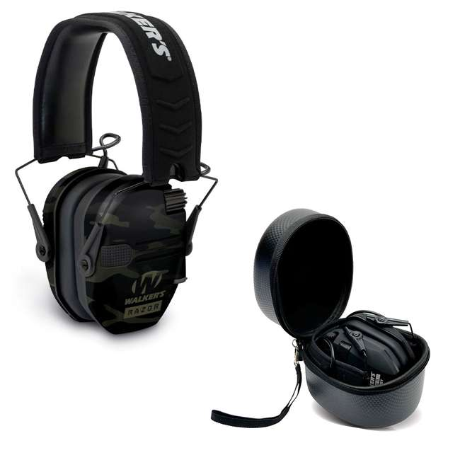 GWP-RSEM-MCCG + GWP-REMSC Walkers Razor Slim Electronic Ear Muffs (Multicam Camo Gray) & Storage Case