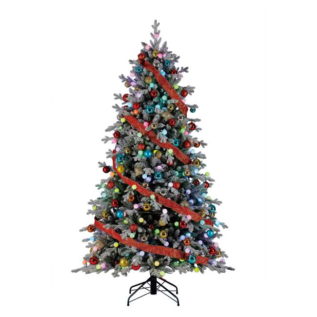 TG76P3B07P05 Home Heritage Victoria 7.5 Foot Flocked Christmas Tree with Color Blast Lights 2