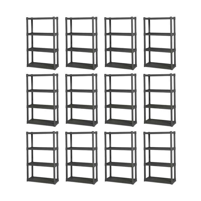 12 x 01643V01 Sterilite 4-Shelf Gray Shelving Unit, Flat Gray (12 Pack)
