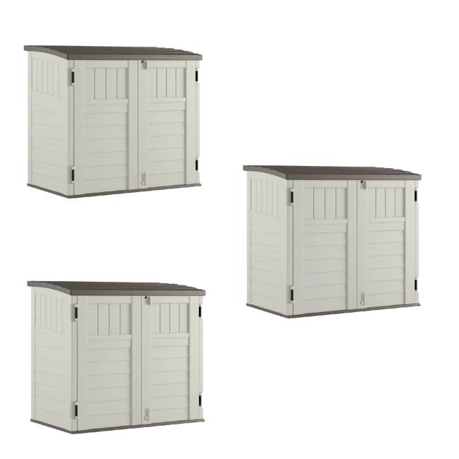 3 x BMS2500 Suncast Horizontal Storage Shed Stow Away, Ivory (3 Pack)