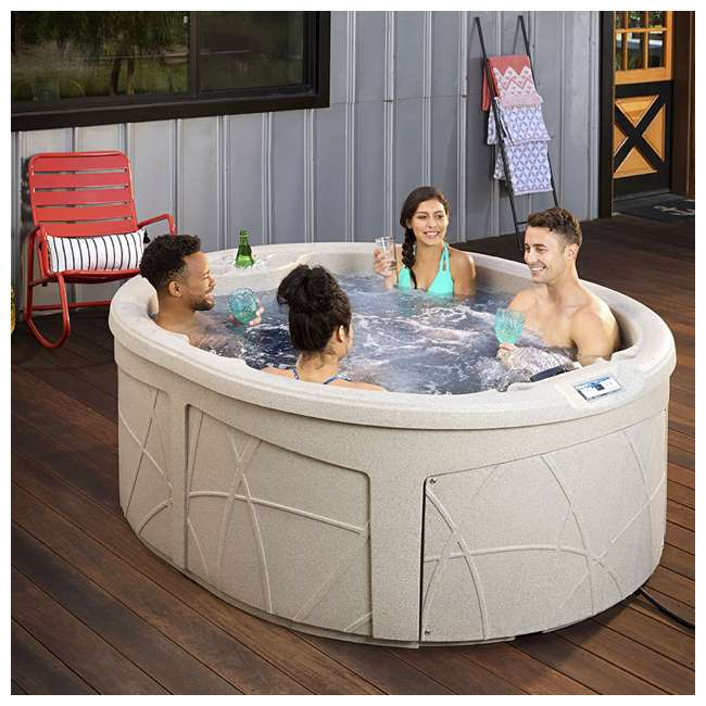 LS200DX LifeSmart Key Largo DLX 4 Person Oval 20 Jet Plug and Play Hot Tub Spa, Sand 2