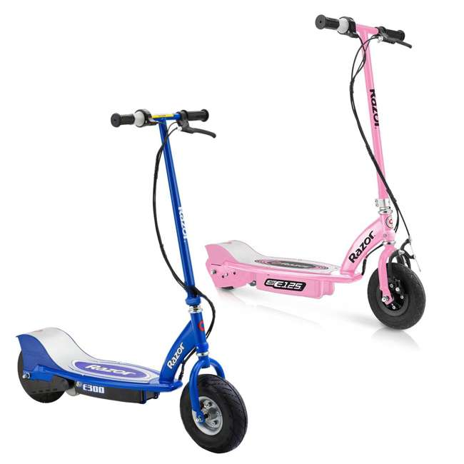 13111163 + 13113640 Razor E125 & E300 Kids Ride On 24V Battery Powered Electric Scooters (2 Pack)