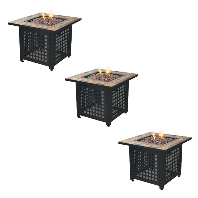 3 x GAD1428SP Endless Summer Propane Powered Square Outdoor Patio Firetable w/ Rocks (3 Pack)
