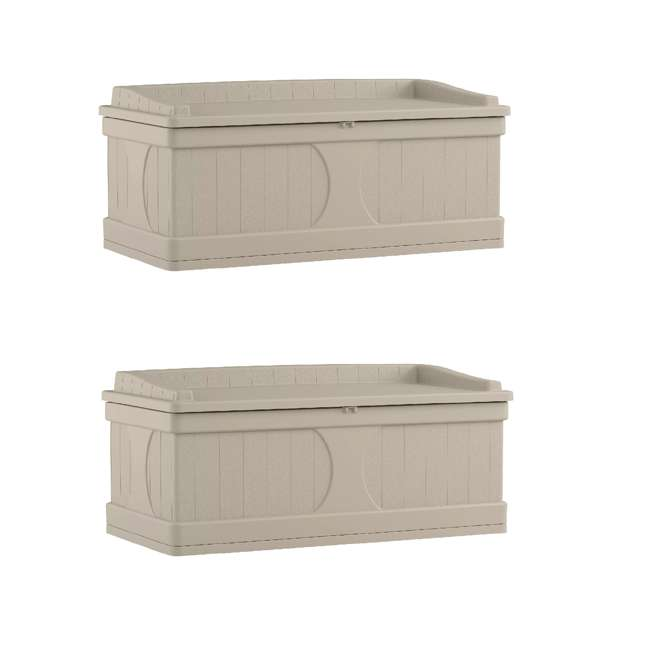 DB9500 Suncast 99 Gallon Deck Box and Bench with Seating Capacity for two (2 Pack)