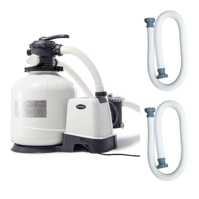 26651EG + 2 x 29060E Intex Pool Sand Filter Pump w/ Pump Hose (2 Pack)