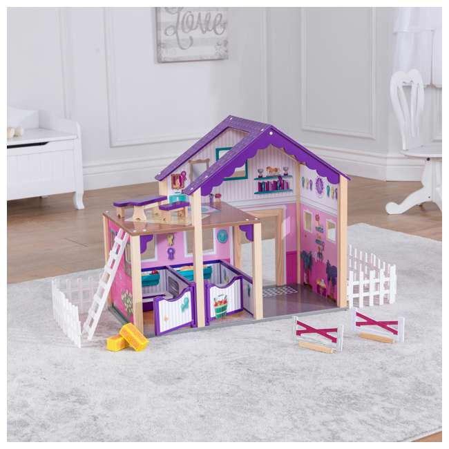 63602 KidKraft Kids Deluxe Toy Horse Stable Wooden Barn Doll House Play Set with Fence 10