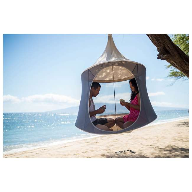 TP1500SB + TP9150 TreePod Cabana 5-Foot Hanging Mesh Daybed with Canopy, Slate Blue w/Bug Net 1