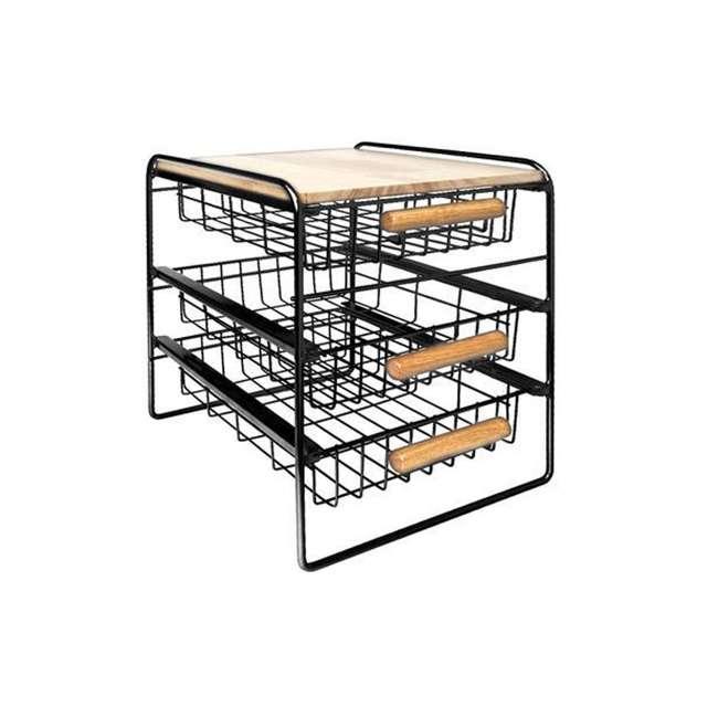 RA3TS-WB-BL Origami Kitchen Countertop 3-Drawer Wood Top Organizer, Black 1