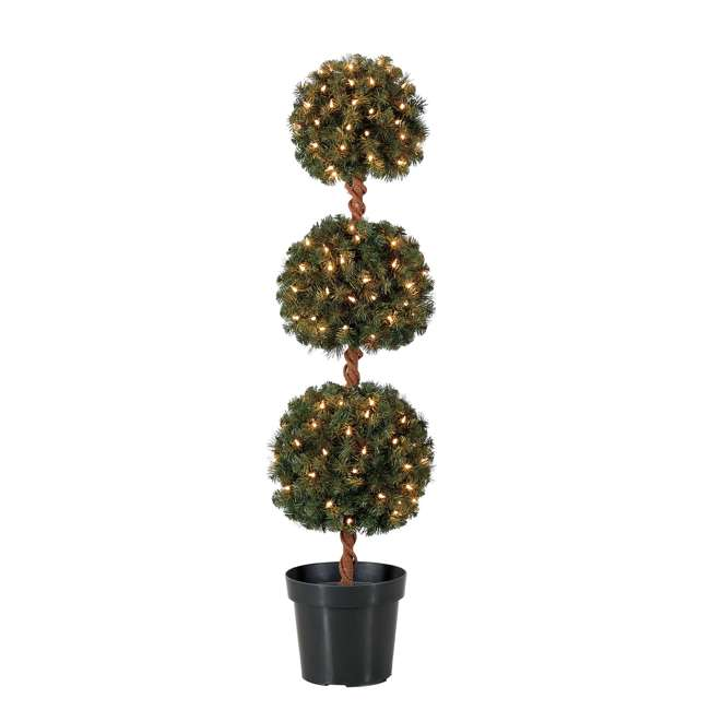 TP40M2W72C09 Home Heritage 4 Foot Artificial Topiary Tree w/ Clear Lights for Entryway Decor 1