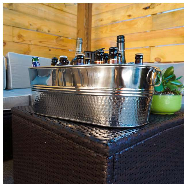 16436x2-U-B BREKX Colt Hammered Stainless Steel Beverage Ice Bucket Tub (Used) 2