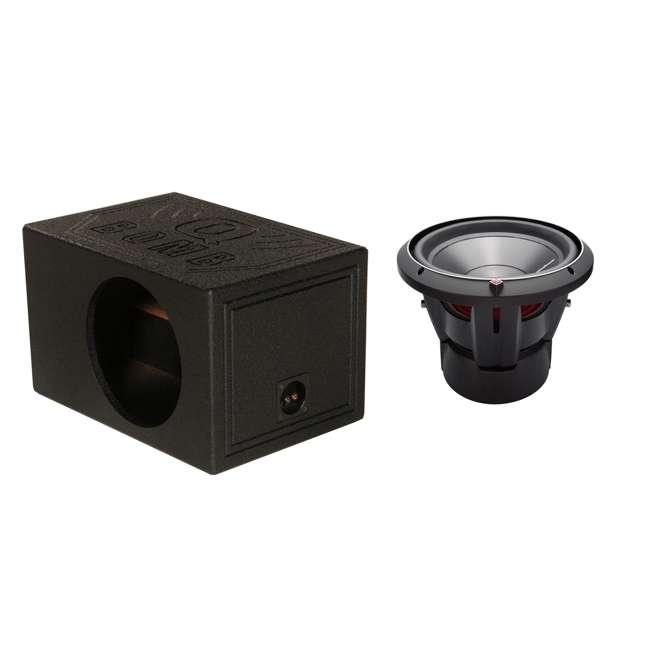 "QBOMB12VL-SINGLE + P3D2-12 Q-POWER 12"" Sub Box Enclosure & ROCKFORD FOSGATE 12"" Subwoofer"