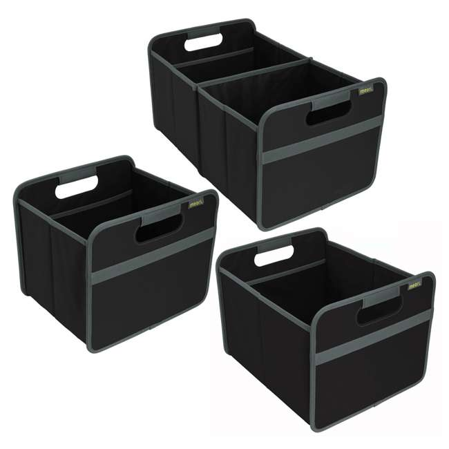 A100025 + A100196 + A100001 Meori Classic Collection 4, 6.5, & 8-Gallon Foldable Boxes, Lava Black