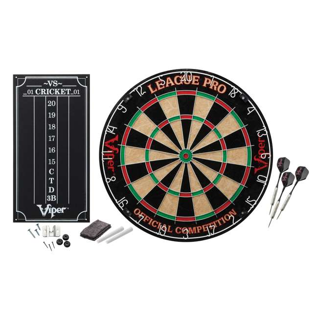 4 x VIP42-6011 Viper League Pro Sisal Dartboard Starter Kit with Steel Tip Darts (4 Pack) 1