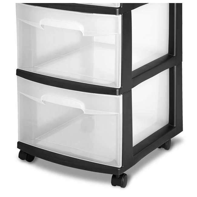 28309002-U-A Sterilite 3-Drawer Storage Cart Clear Drawers Black Frame (Open Box) (2 Pack) 2