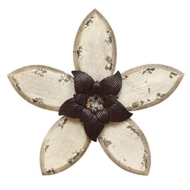 SHD0166-U-A Stratton Home Wood & Metal Hand Painted Antique Flower Decor, Espresso(Open Box)
