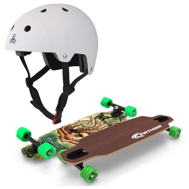 T8-3018 + 08002-SHARK Triple 8 Hardened Skate & Bike Helmet, L/XL + Fathom Shark Wheel Kraken Mini Drop Longboard