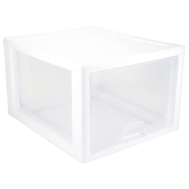 20 x 23108004 Sterilite 2310 27-Quart Single Stacking Drawer - Clear (20 Pack) 1
