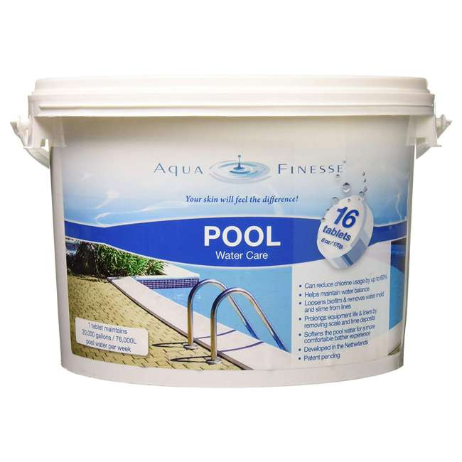 956330 AquaFinesse Pool Hot Tub Clean Water Care Tablet Pail, 16 6 Ounce Tablets