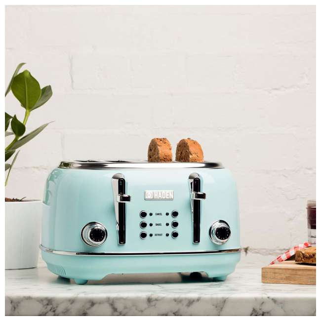 75005 Haden Heritage 4-Slice Wide Slot Stainless Steel Body Retro Toaster, Turquoise 2