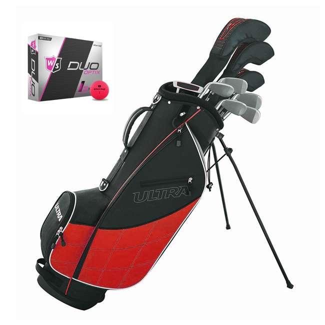 WGGC43200 + WGWP43500 Wilson Ultra Men's Complete Right Handed Golf Club Bag Set & Balls