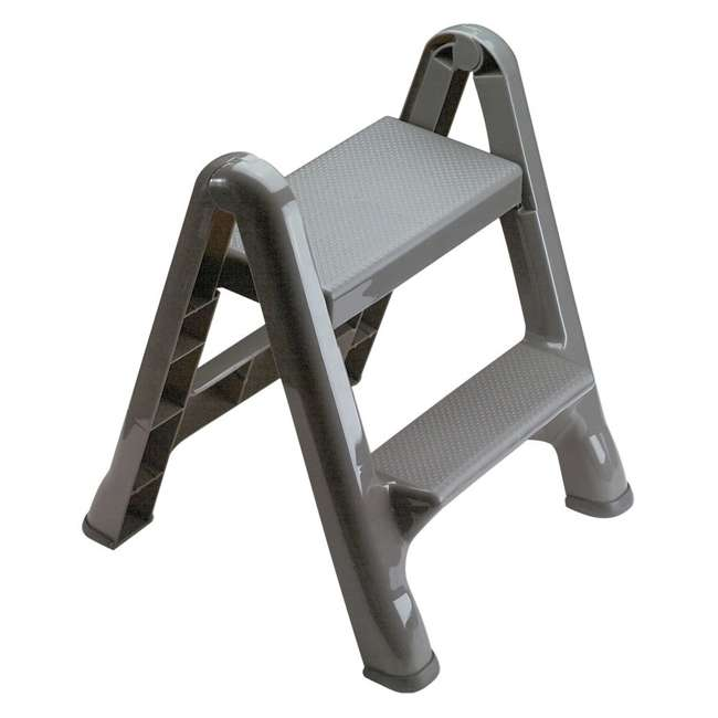 FG420903CYLND Rubbermaid 2 Step Slip Resistant Folding Plastic Stepstool with Foot Pads, Grey