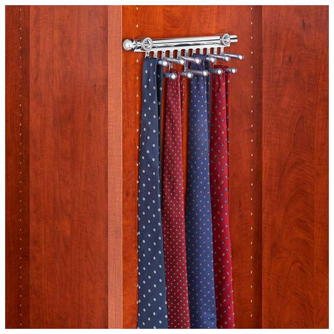 CTR-12-CR Rev-A-Shelf CTR-12-CR 12 in Chrome Pullout Tie and Scarf Rack Organizer, Chrome 2