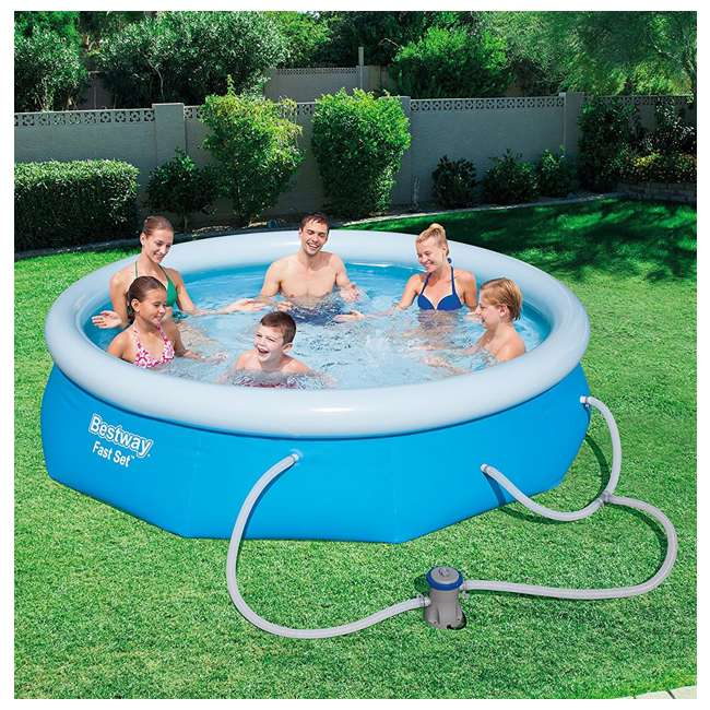 Bestway 10 39 x 30 fast set inflatable above ground pool w for Inflatable above ground pools