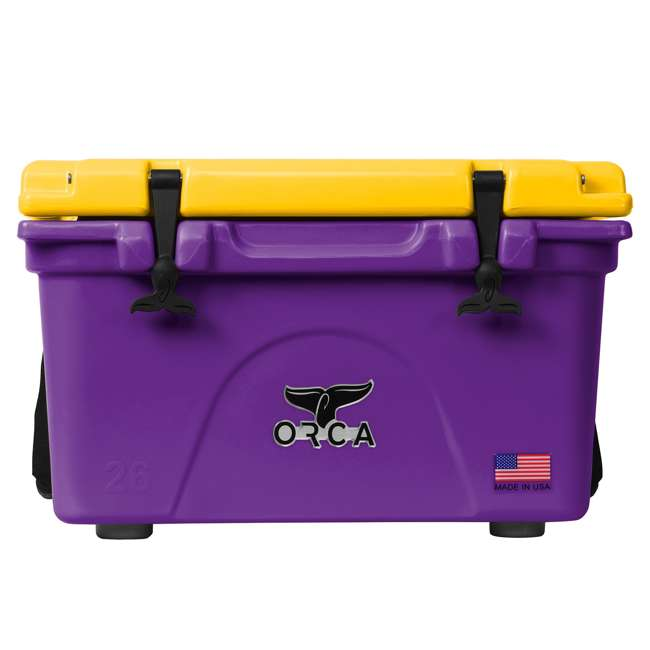 ORCPU/G0026 Orca ORCPU/G0026 Roto Molded 26 Quart 24 Can Insulated Ice Cooler, Purple/Gold