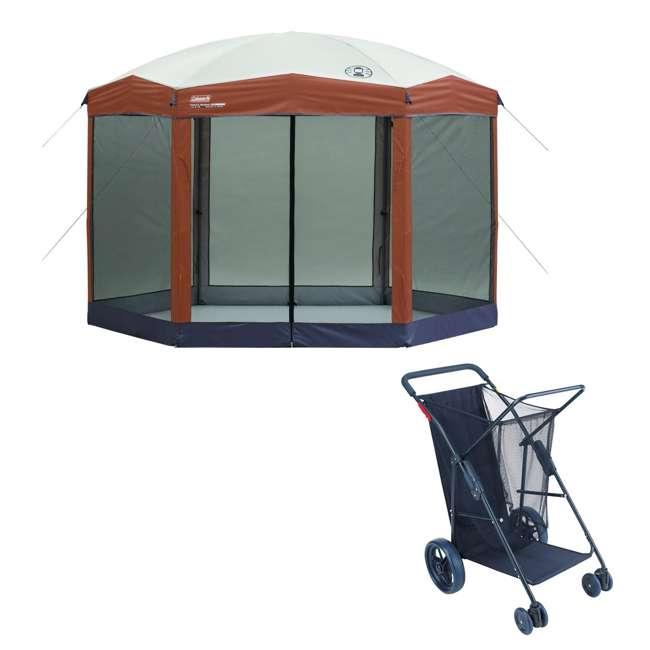A-2000028003-G + RIOWWC5-4670 Coleman Back Home 12x10 Foot Screen House & Utility Cart