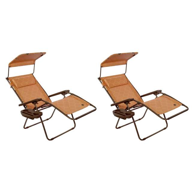 GWD-463TCr Bliss Hammocks 30 Inch Zero Gravity Chair w Canopy & Tray, Terracotta (2 Pack)