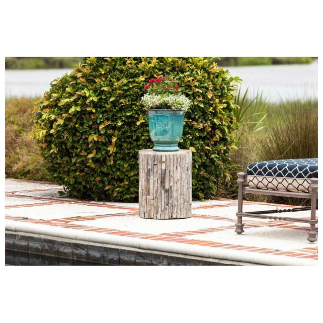 62420 Fire Sense Elyse Round Reclaimed Wood Garden & Patio Stool 3