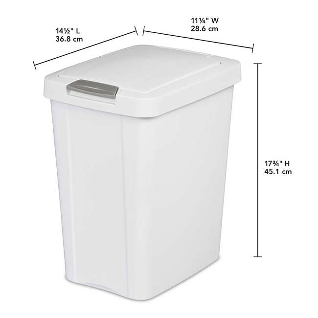 4 x 10438004 Sterilite 7.5 Gallon TouchTop Wastebasket with Titanium Latch, White (4 Pack) 2