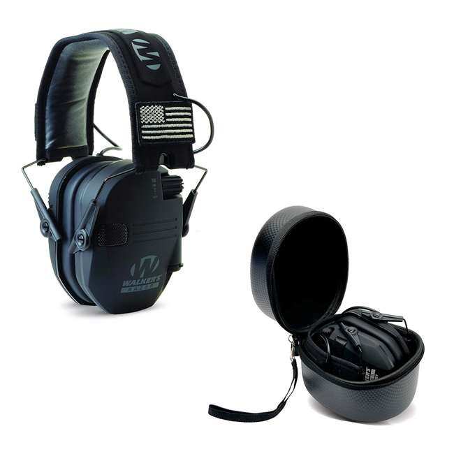 GWP-RSEMPAT + GWP-REMSC Walkers Razor Slim Electronic Ear Muffs (Black Patriot) & Storage Carrying Case