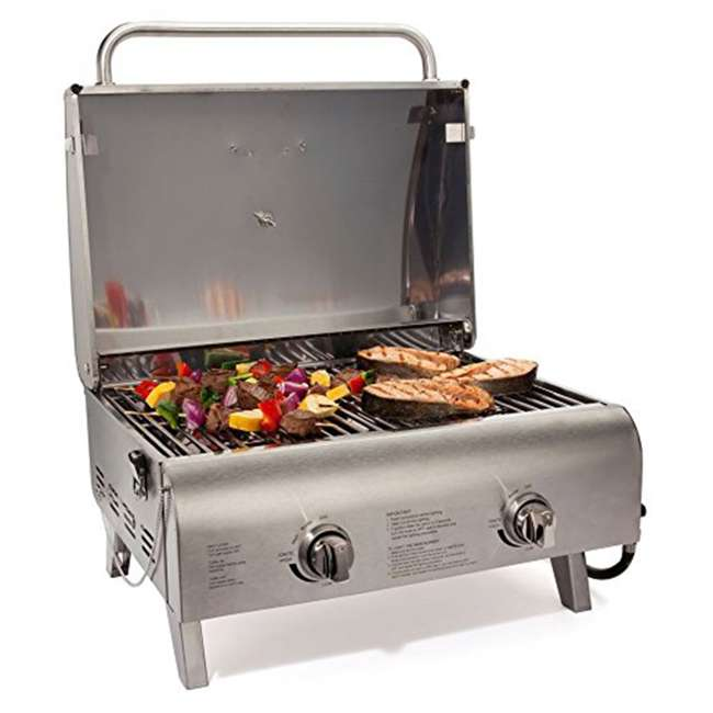CGG-306 Cuisinart Chef's Style Stainless Two Burner Tabletop Propane Gas Grill Silver 2