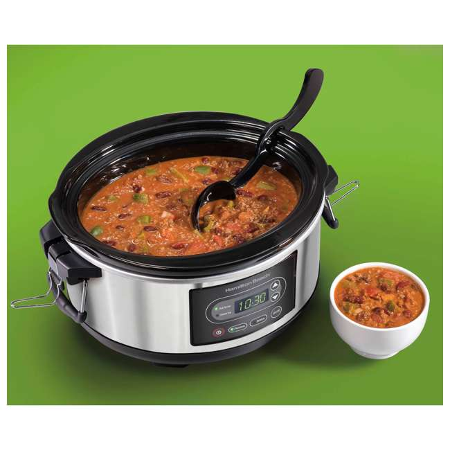 33957 + SLOWCOOK150 Hamilton Beach 5 Quart Programmable Stay or Go Slow Cooker & 150 Recipe Cookbook 5