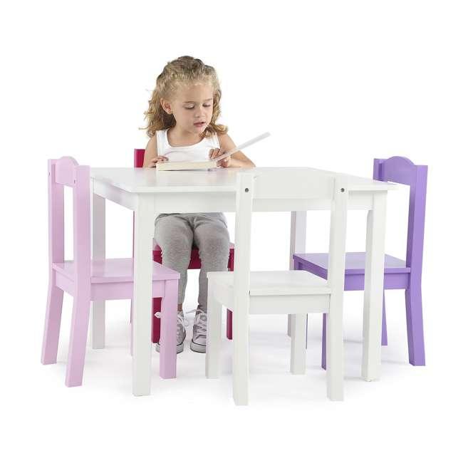 TC727 - Friends Tot Tutors Friends Collection Kids Wood Table & 4 Chair Set, White/Pink & Purple 4