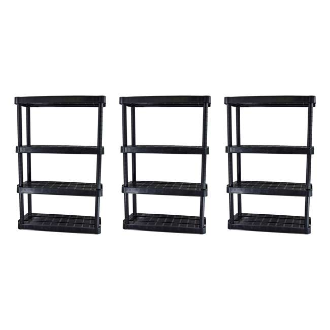 3 x GL91074MAXIT-1C Gracious Living 4-Tier Resin Garage Storage Shelf, Black (3 Pack)