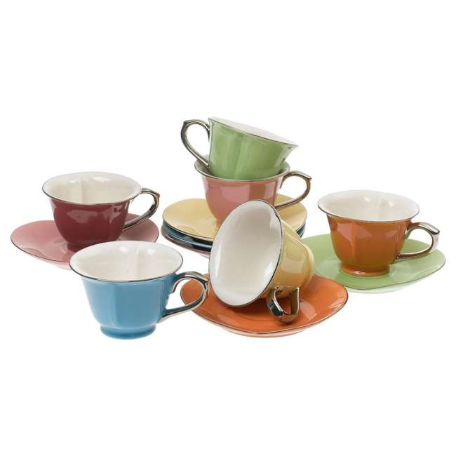 CC169 Inside Out Heart 6.5 Ounce Cups and Saucers, (Set of 6)