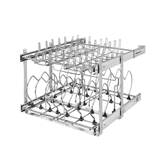 5CW2-2122-CR Rev-A-Shelf 5CW2 Series 21 Inch 2 Tier Wire Organizer for Cookware, Chrome (2 Pack) 1